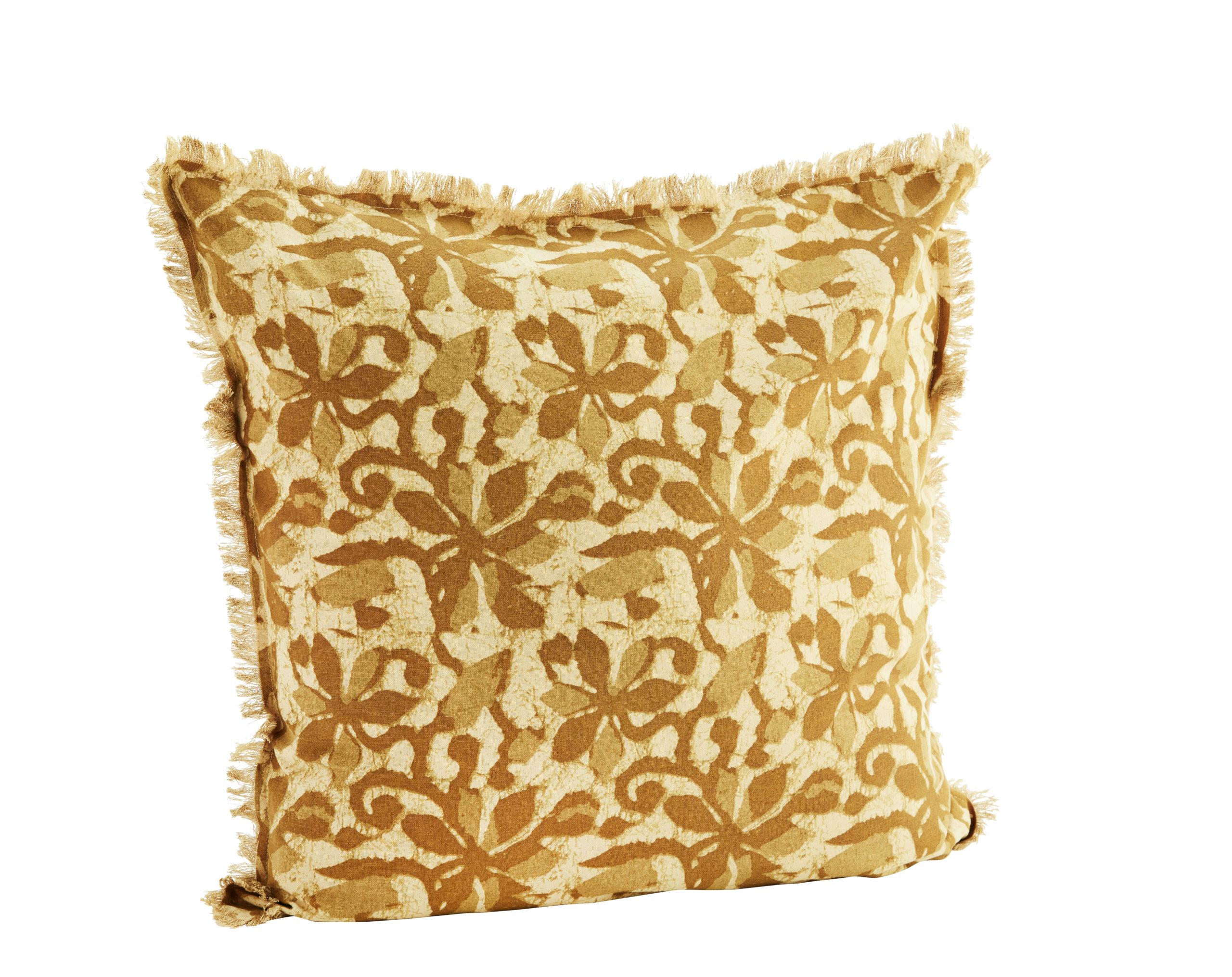 Housse de coussin imprimée avec franges en lin lavé beige/camel 60x60cm * Madam Stoltz