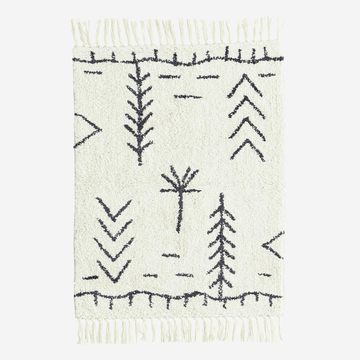 Tapis de bain 60x90 cm en coton motif berbère écru/gris graphite * Madam Stoltz