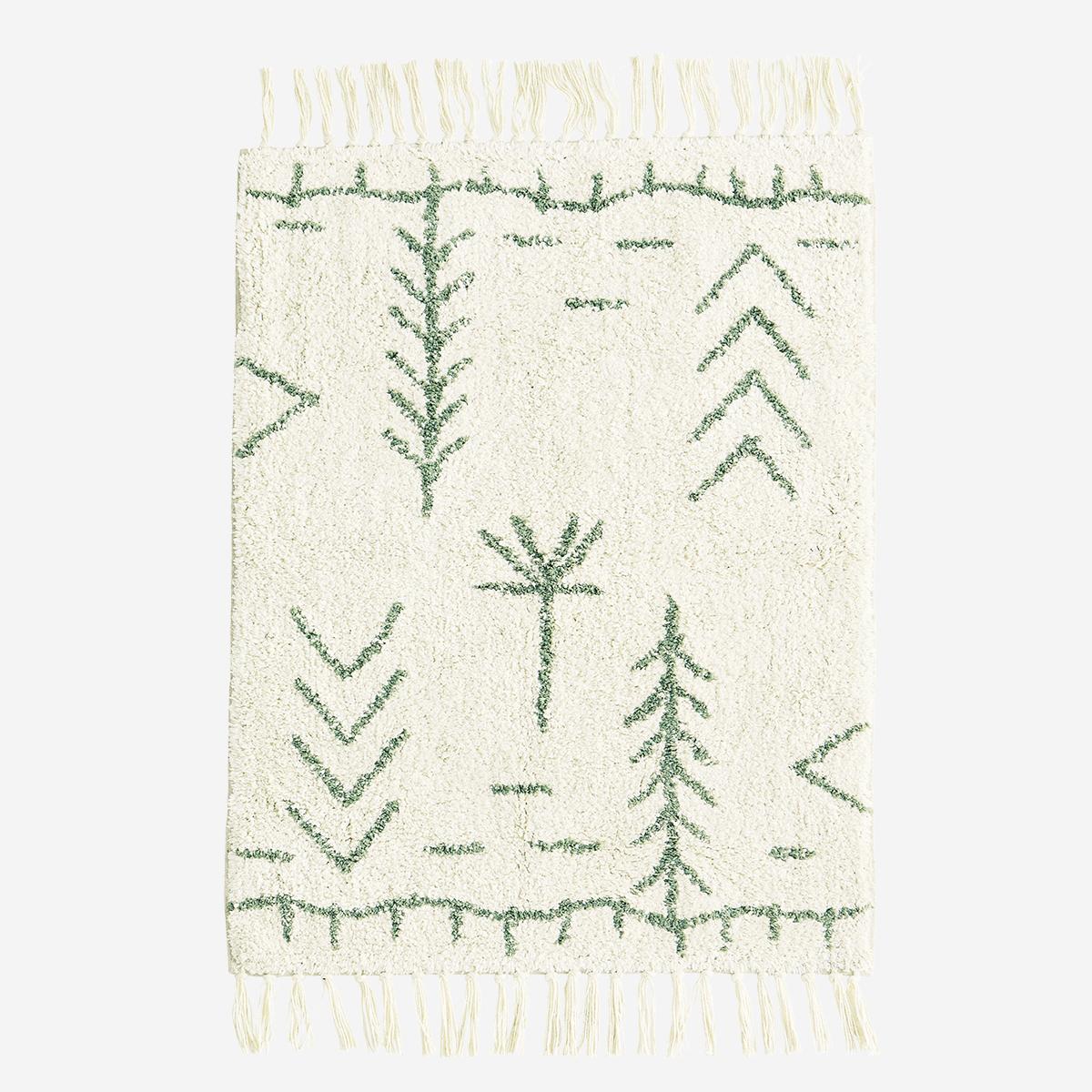 Tapis de bain / Sortie de lit 60x90 cm en coton motif berbère écru/vert jade *