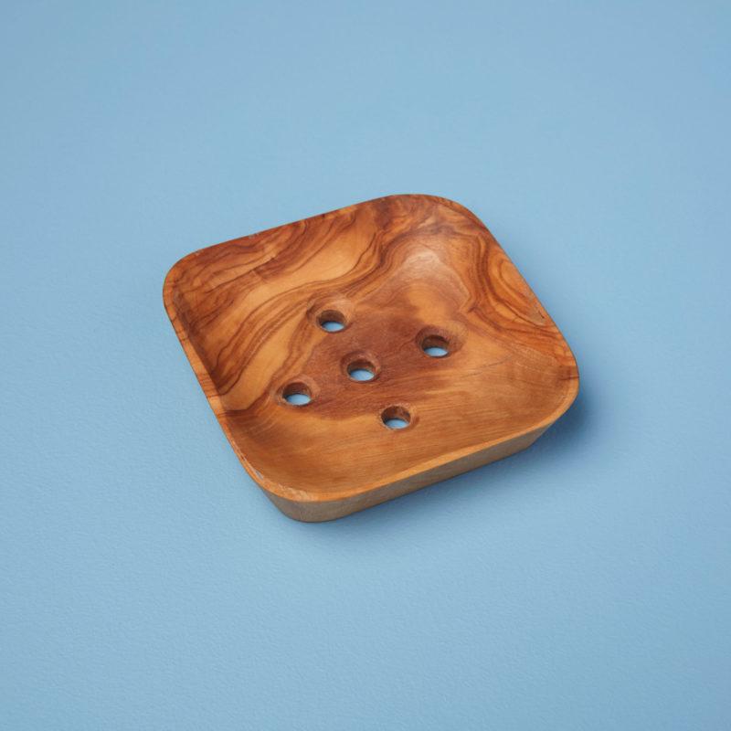 Porte-savon en bois d'olivier carré * Be Home