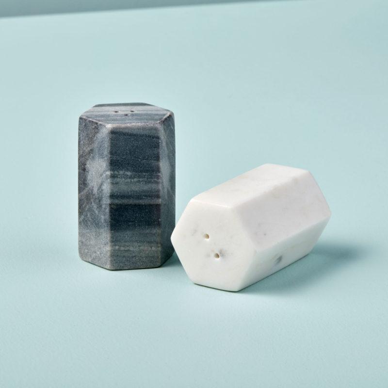 Salière et poivrier en marbre gris et blanc * Be Home