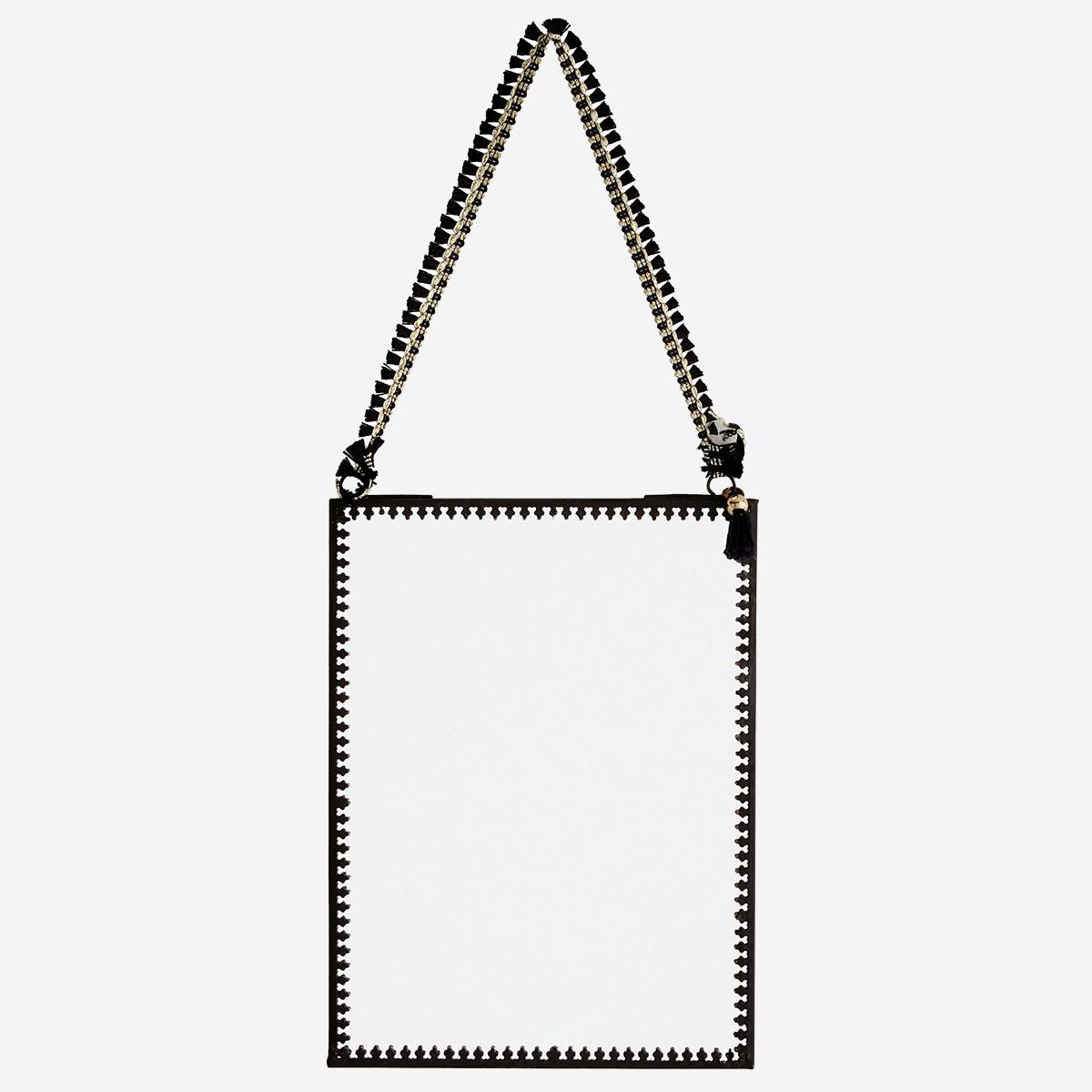 Petit miroir portrait à bords dentelés noir 15x20cm * Madam Stoltz