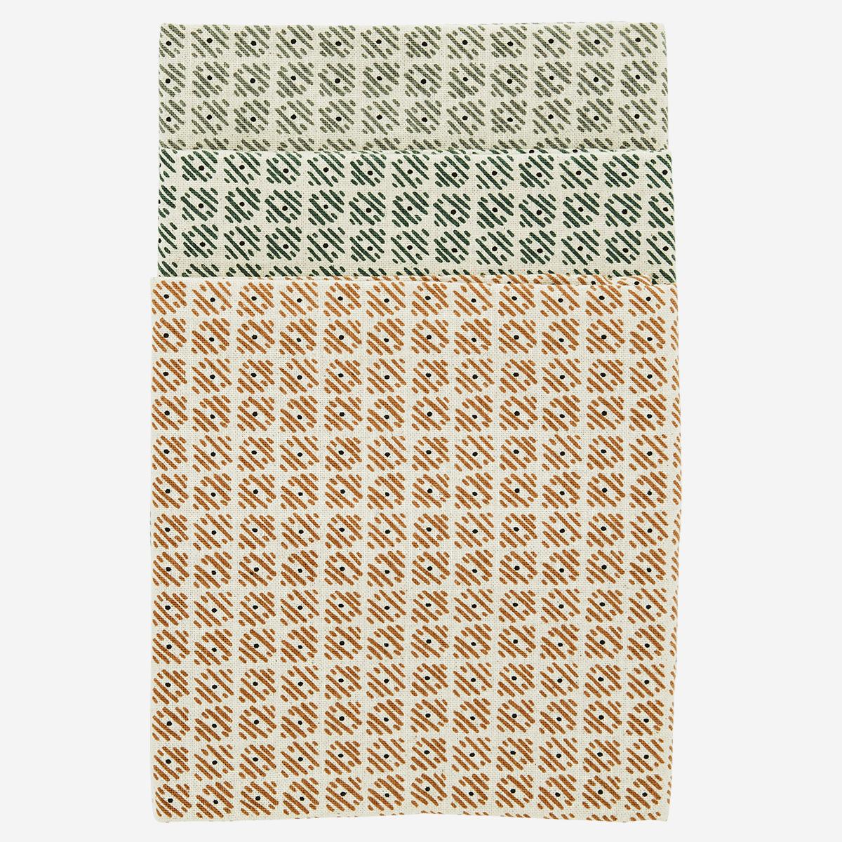 Set de 3 essuies de vaisselle écru motifs caramel/vert foncé/gris * Madam Stoltz