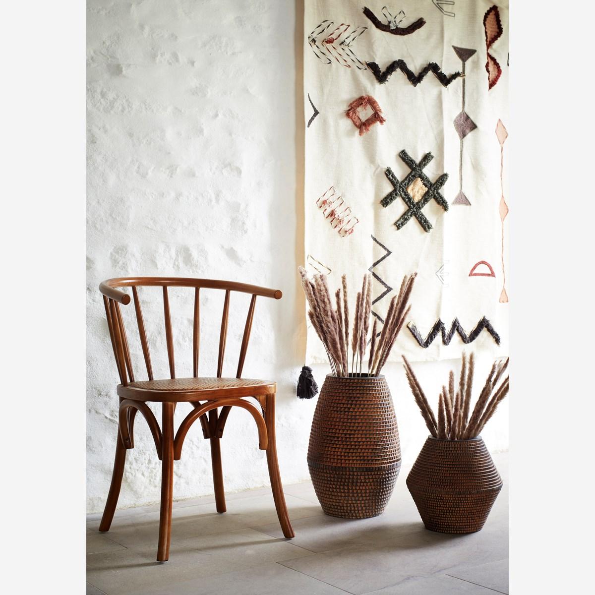 Chaise en bois naturel d'orme à barreaux et assise en rotin tressé * Madam Stoltz