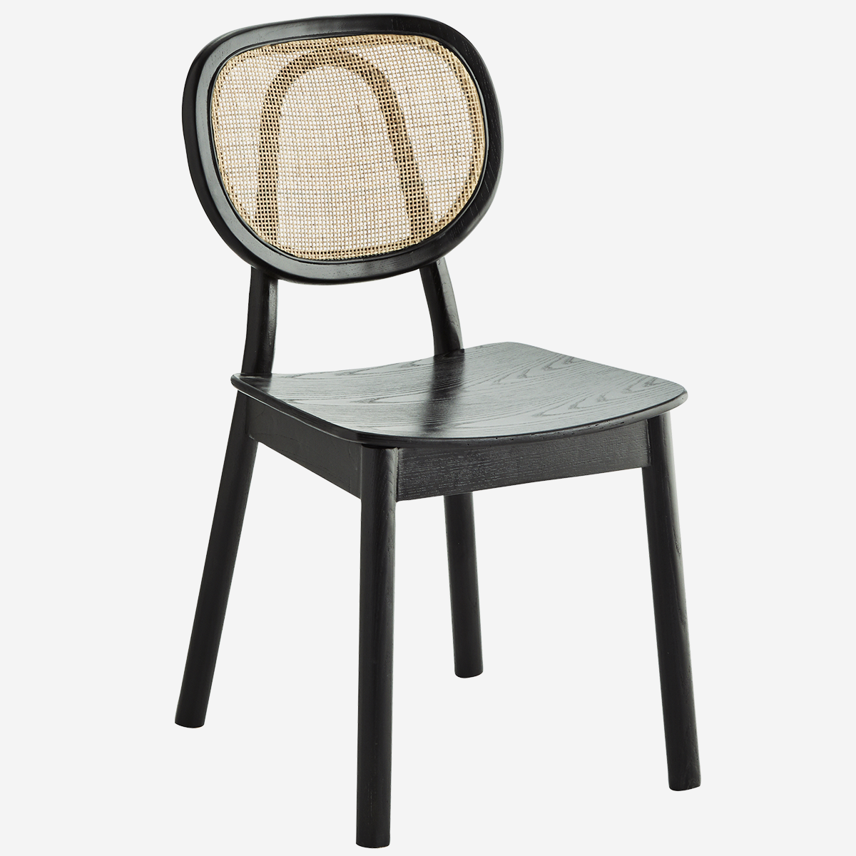 Chaise noire en bois d'orme et dossier en rotin * Madam Stoltz