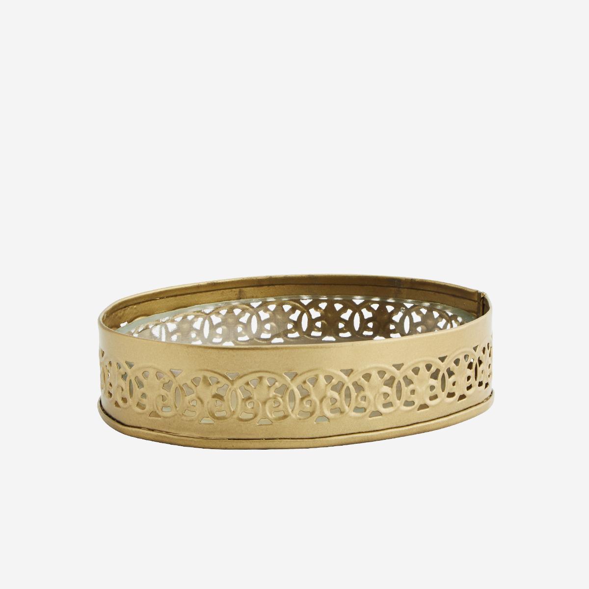 Porte-savon ovale en verre et métal doré * Madam Stoltz