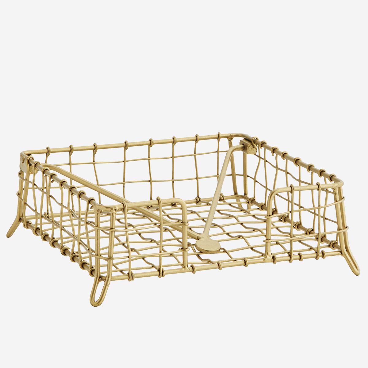 Porte-serviettes carré en métal doré * Madam Stoltz