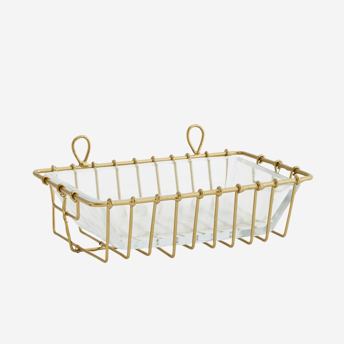 Porte-savon à suspendre en verre avec support en métal doré * Madam Stoltz