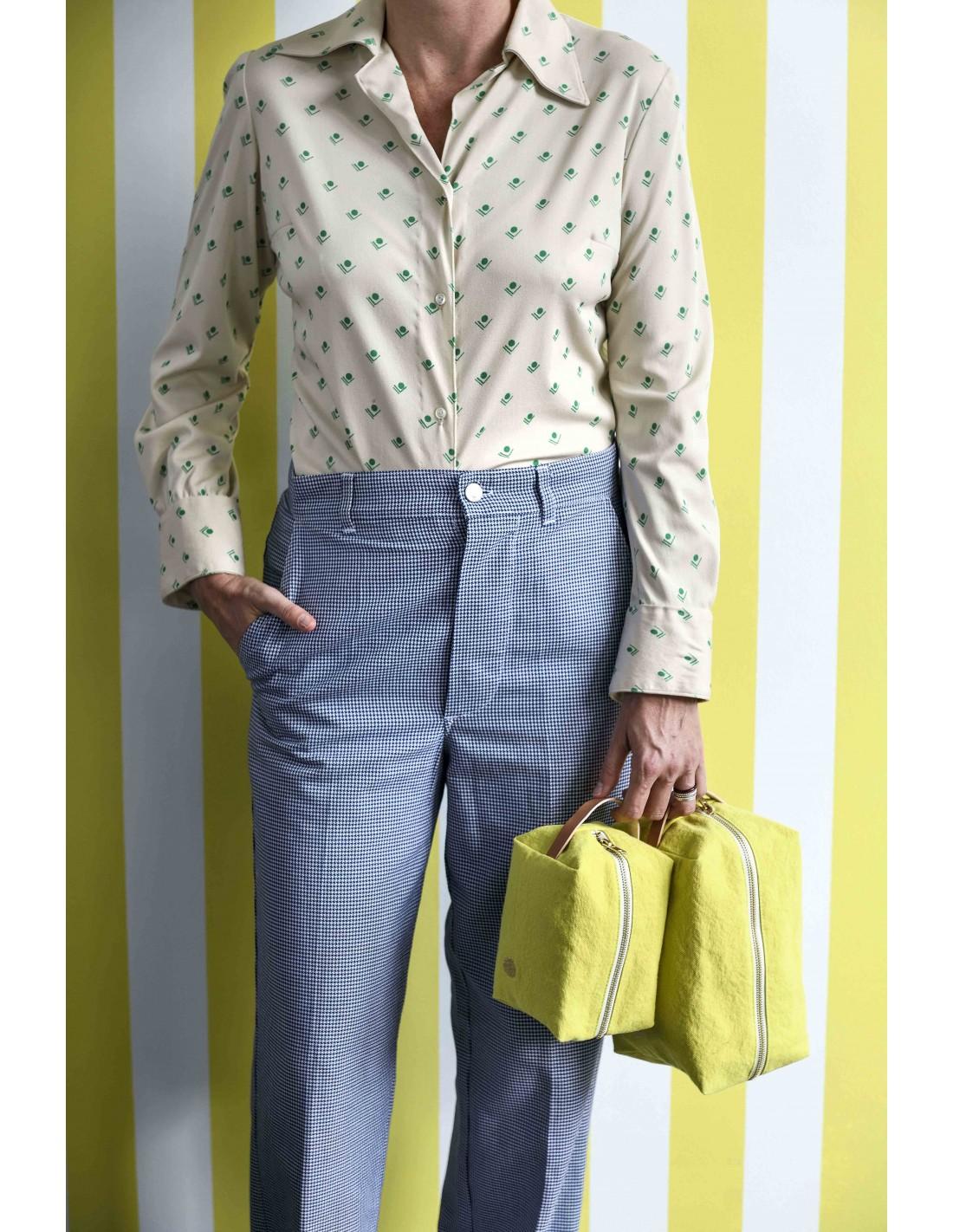 Trousse cube Grand modèle jaune vert Bergamote * La Cerise sur le Gâteau