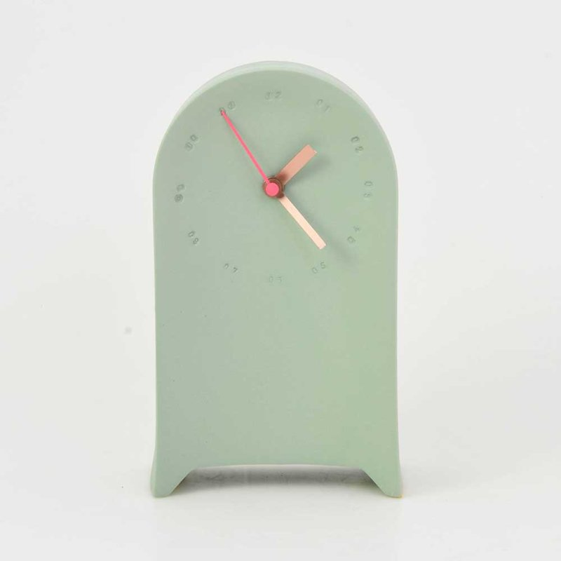 Horloge murale en porcelaine à poser verte/rose * Studio Harm en Elke