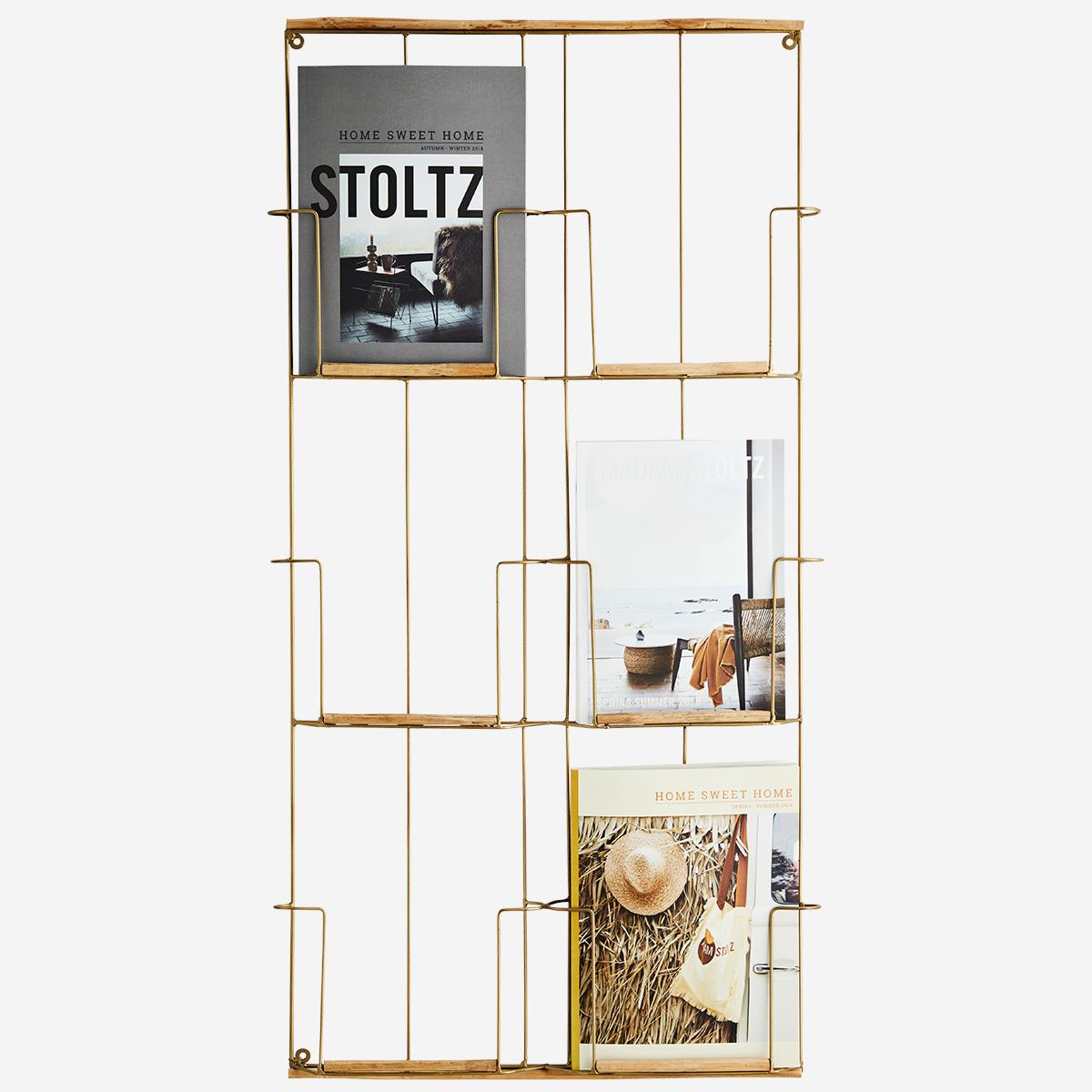 Présentoir à magazine (A4) laiton vieilli et bambou * Madam Stoltz
