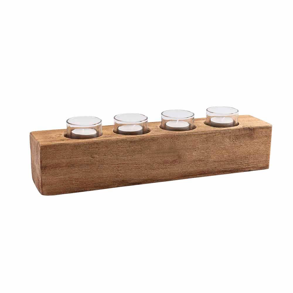 Bougeoir pour 4 bougies chauffe-plat en bois recyclé * Original Home