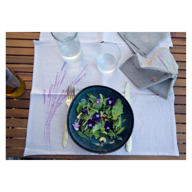 Set de table et serviettes (1 personne) en lin belge - teinte violette / Usures#03 * Tamara Louis Sérigraphie
