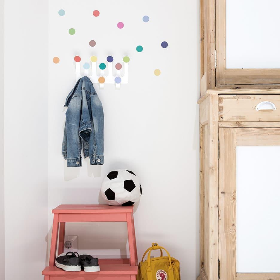 Porte-manteaux crochets confettis & stickers (couleurs vives) * Tresxics