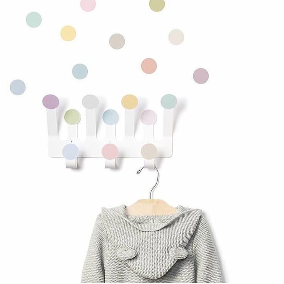 Porte-manteaux crochets confettis & stickers (couleurs pastel) * Tresxics