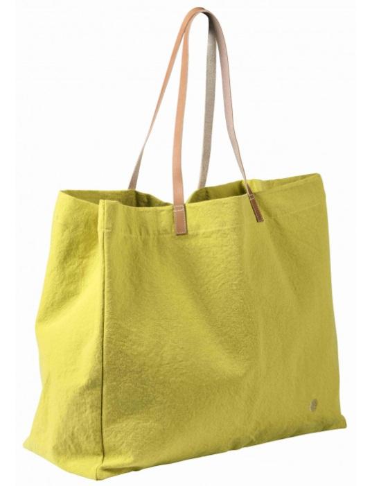 Sac shopping jaune-vert Bergamote * La Cerise sur le Gâteau