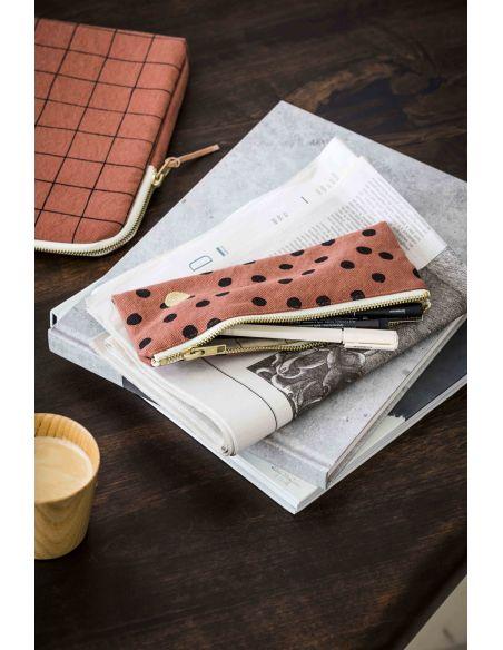 Plumier - trousse de bureau Polka pois noirs Rhubarbe * La Cerise sur le Gâteau
