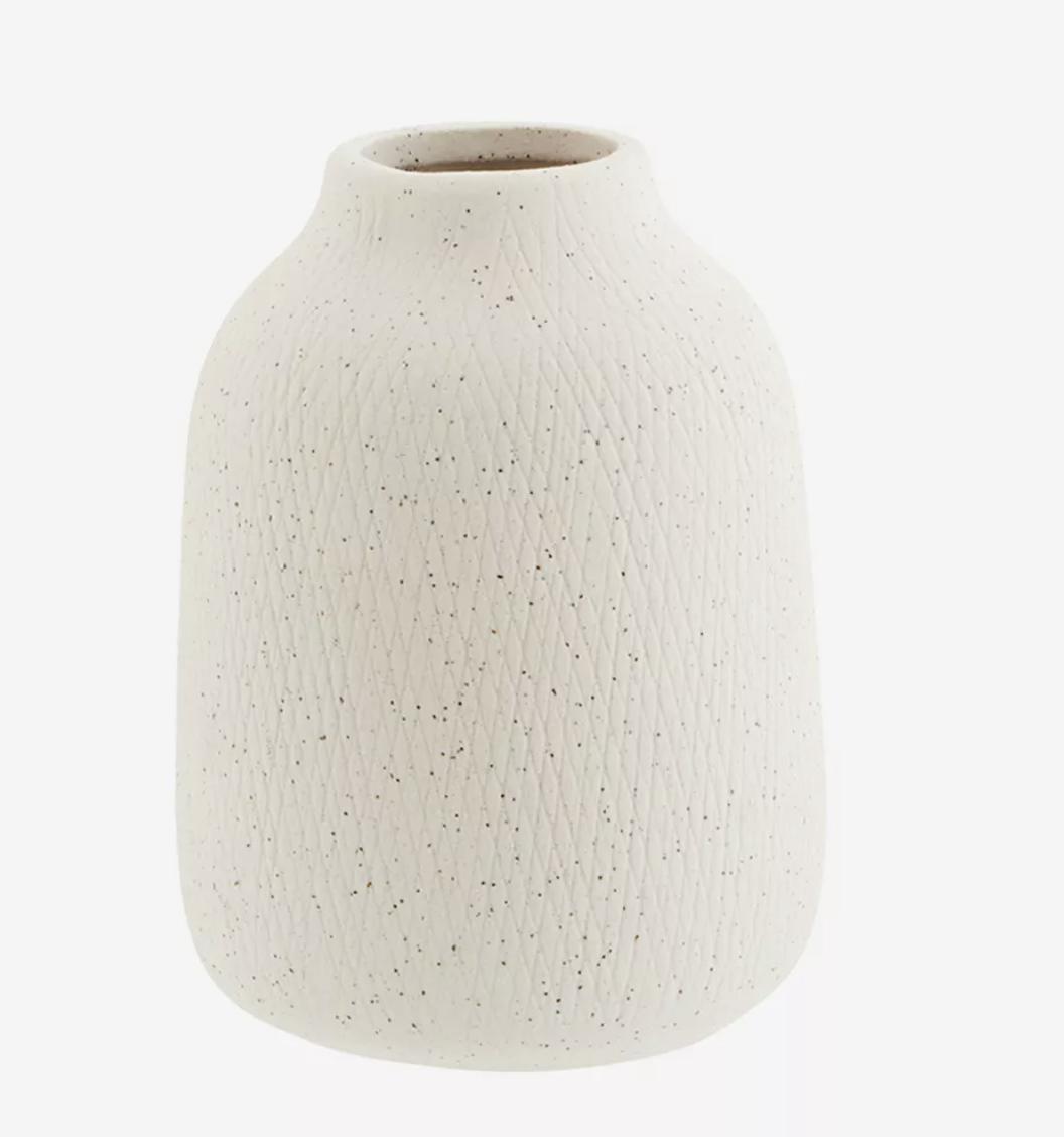 Vase arrondi en céramique blanc moucheté * Madam Stoltz