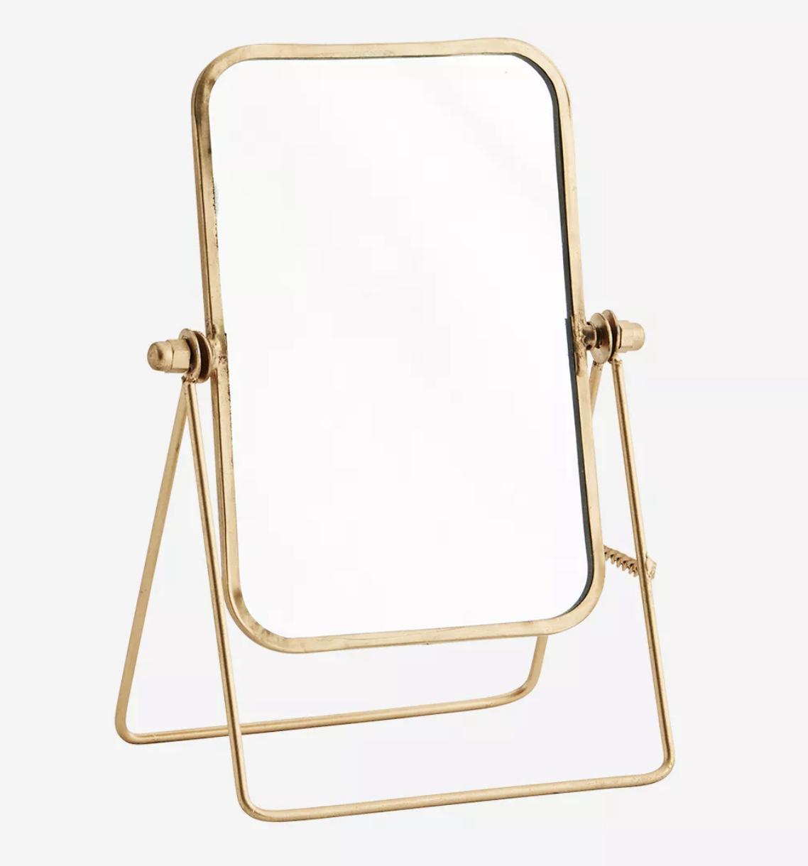 Miroir sur pied pivotant doré * Madam Stoltz