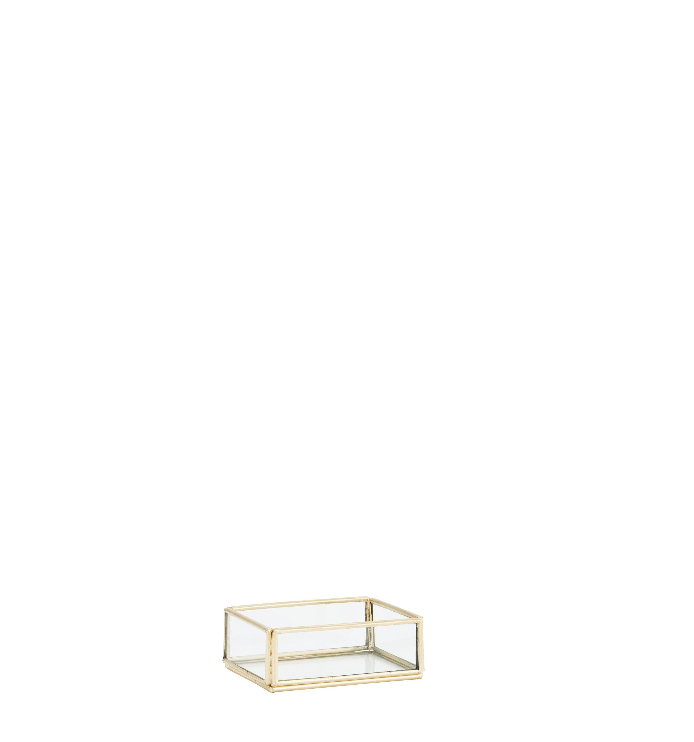 Petite boîte sans couvercle en verre et métal doré * Madam Stoltz