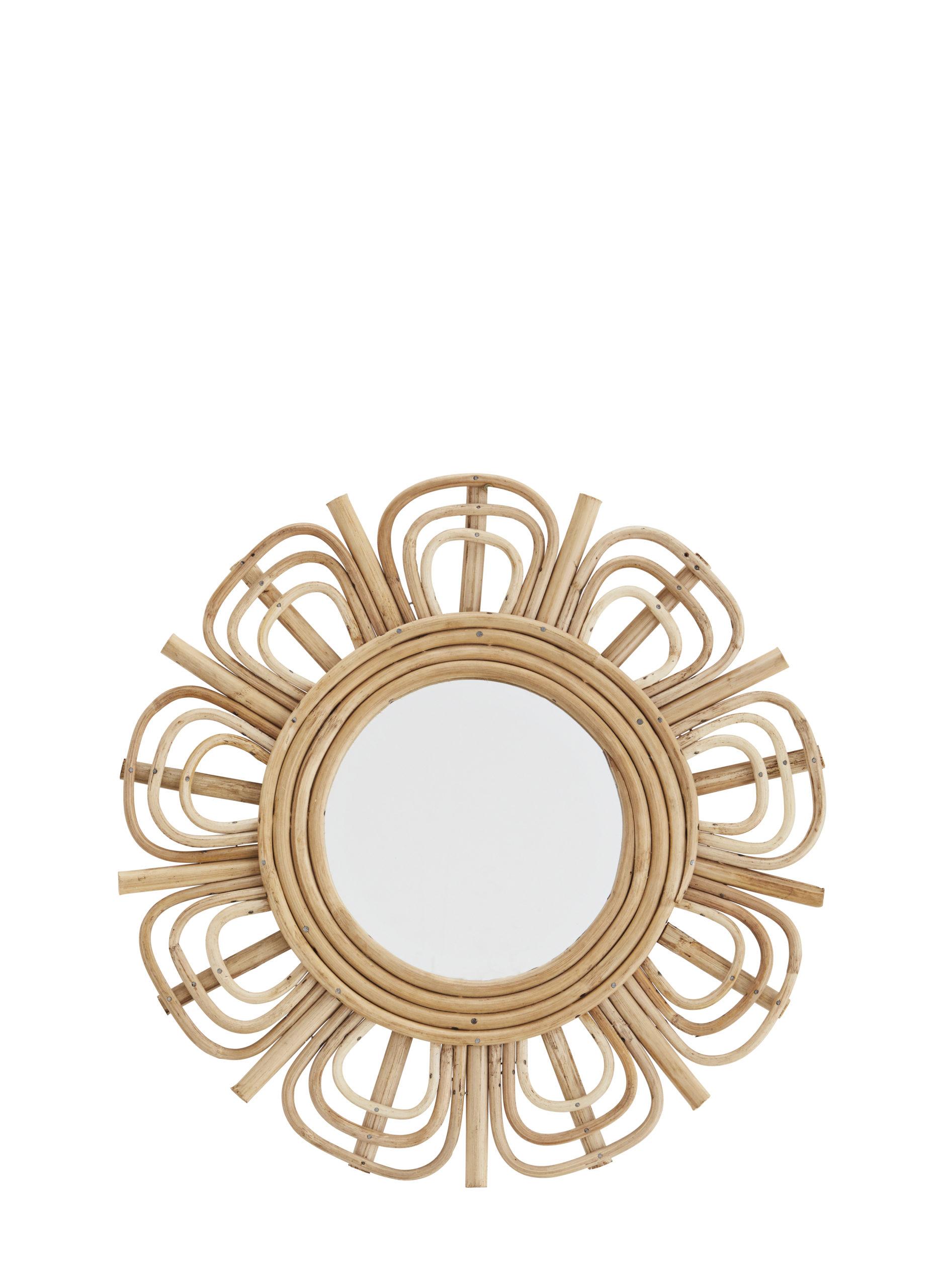Miroir rond fleur en bambou * Madam stoltz