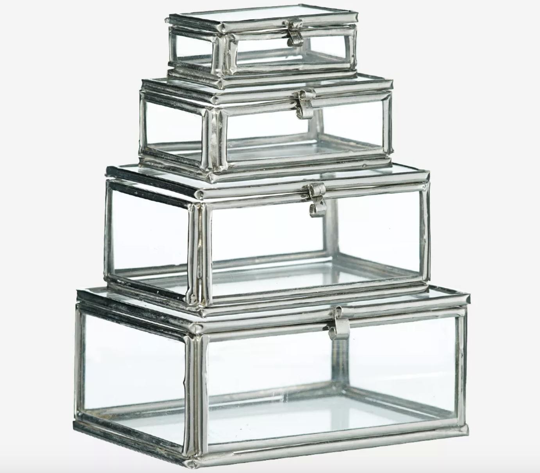 Set de 4 petites boîtes en verre et métal argenté * Madam Stoltz