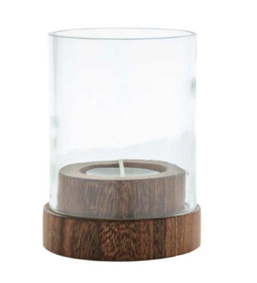 Bougeoir bougie chauffe-plat en bois et verre recyclés * Original Home