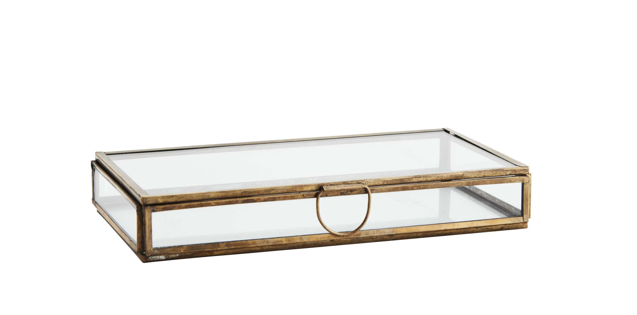 Boîte rectangulaire plate en verre et métal doré * Madam Stoltz